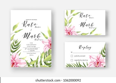 Invitation cards for marriage, rsvp reply with blooming pink orchid leaves, branch, greenery. Wedding invite template with watercolor blossom branch of pink flowers.