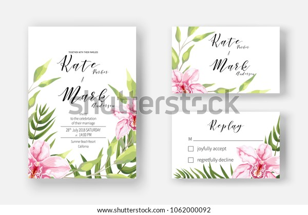Invitation Cards Marriage Rsvp Reply Blooming Stock Image