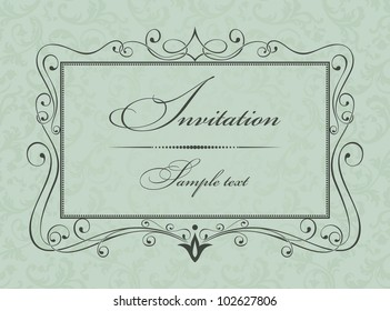 Invitation cards in an old-style green