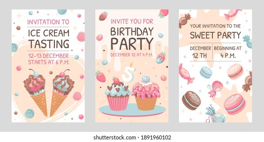 Invitation cards set with sweets. Ice cream, macaroons, birthday cupcakes vector illustrations with text, time, date. Celebration and dessert concept for flyers and announcement posters design