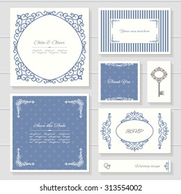 Invitation cards and templates set. Can be used for wedding design. Blue and white colors.