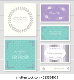 Invitation cards and templates set. Can be used for wedding design.