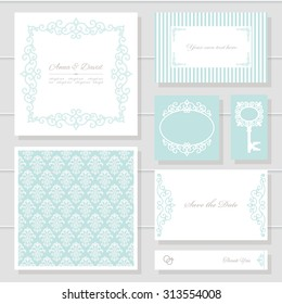 Invitation cards and templates set. Can be used for wedding design. Pastel blue and white colors.