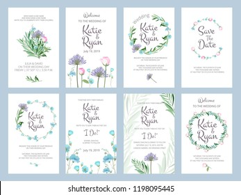 Invitation cards. Wedding floral placards love greeting beauty frames vector illustrations with place for your text. Illustration of invitation card wedding with floral decoration