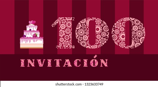 """Invitation to the celebration, 100 years, berry cake, Spanish, vector. Color card with the number 100. The inscription in Spanish """"invitation""""."""