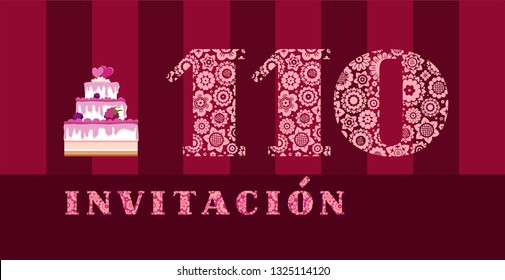 """Invitation to the celebration, 110 years, berry cake, Spanish, vector. Color card with the number 110. The inscription in Spanish """"invitation"""". Invitation to the anniversary, birthday, holiday."""