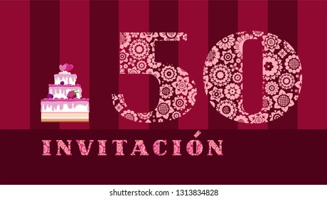 """Invitation to the celebration, 50 years, berry cake, Spanish, vector. Color card with the number 50 on the Burgundy striped field. The inscription in Spanish """"invitation"""". Invitation to an anniversary"""