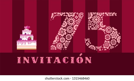 """Invitation to the celebration, 75 years, berry cake, Spanish, vector. Color card with the number 75 on the Burgundy striped field. The inscription in Spanish """"invitation""""."""