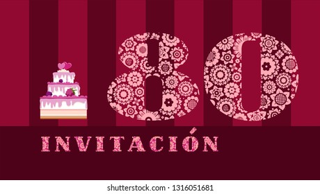 """Invitation to the celebration, 80 years, berry cake, Spanish, vector. Colored postcard with the number 80 on the Burgundy striped field. The inscription in Spanish """"invitation""""."""