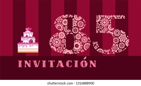 """Invitation to the celebration, 85 years, berry cake, Spanish, vector. Color card with the number 85 on the Burgundy striped field. The inscription in Spanish """"invitation""""."""