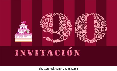 """Invitation to the celebration, 90 years, berry cake, Spanish, vector. Color card with the number 90. The inscription in Spanish """"invitation"""". Invitation to the anniversary, birthday, holiday."""
