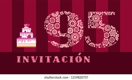 """Invitation to the celebration, 95 years, berry cake, Spanish, vector. Color card with the number 95. The inscription in Spanish """"invitation"""". Invitation to the anniversary, birthday, holiday."""