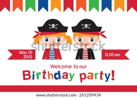 Invitation to a children's party. Invitation to the birthday of twins. Pirate birthday. Vector illustration