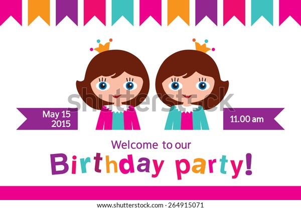 Invitation to a children's party. Invitation to the birthday of twins. Party for the princesses. Vector.