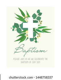 Invitation for Christian baptism with flowers and cross