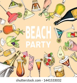 Invitation for coktail beach party. Illustration with cocktails sketches. Hand drawn pattern cocktails bar menu.