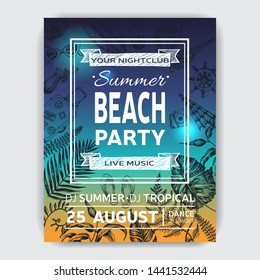 Invitation for coktail beach party. Summertime sketch hand draw card.