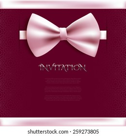 Invitation decorative card template with bow