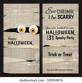 Invitation design for Halloween party with Mummy's big shiny eyes. Funny Halloween background. Can be used for greeting card, party invitation, poster, flyer, vertical banner. Vector illustration