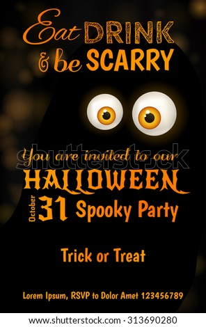 invitation design halloween party scary big stock vector royalty