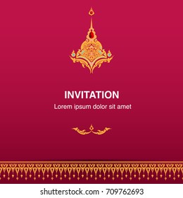 Invitation design template vector or background frame border decoration in Thai style illustration eps 10