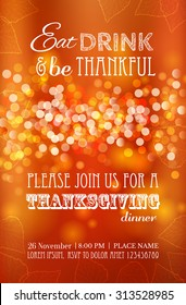 Invitation design for a Thanksgiving dinner or party. Vector template, can be used for poster, banner,  flyer, invitation, greeting card, menu. Happy Thanksgiving banner