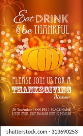Invitation design for a Thanksgiving dinner or party. Vector template, can be used for poster, banner, invitation, greeting card, menu. Happy Thanksgiving banner