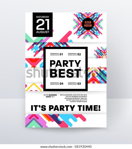 Invitation Disco Party Poster Template with geometric memphis background - vector illustration