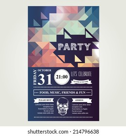 Invitation disco party.Typography.Vector illustration.