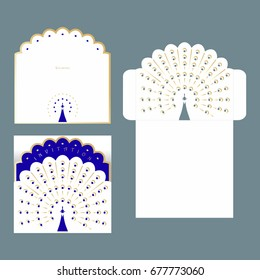 Invitation and envelope with cutout pattern for wedding. Template of envelope for laser cutting.