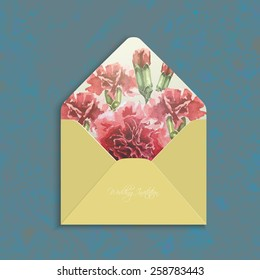 Invitation envelope with watercolor carnation flowers. Open wedding envelope,the reverse side.Floral backdrop. Elegance pattern with red flowers. Vintage vector illustration, grunge background, eps 10