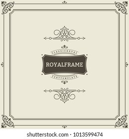 Invitation frame. Vintage ornament greeting card vector template. Retro wedding invitations, advertising or other design and place for text. Flourishes frame.