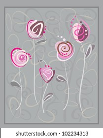 Invitation Gift Card. Abstract pink roses on gray background. Floral pattern vector eps10 illustration with space for text. Raster file included in portfolio