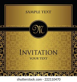 Invitation with a gold decoration. Original design