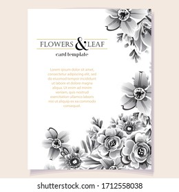 Invitation greeting card with floral background. Wedding invitation, thank you card, save the date cards.