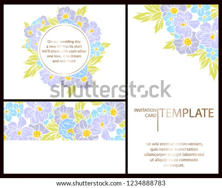 Invitation Greeting Card Floral Background Wedding Stock