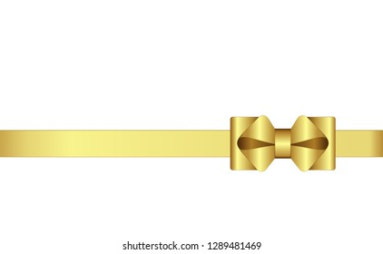 Invitation, Greeting or Gift Card With Golden Ribbon And A Bow.  Gift Voucher Template with  place for text. Vector image.