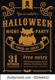 Invitation to Halloween night party. Elegant vintage card with gloomy owl. Vector template in black and gold colors.