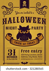 Invitation to Halloween night party. Vintage card with gloomy owl on gold background. Vector template.