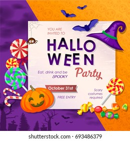 Invitation to halloween party with traditional trick or treat elements. Eps 10 vector illustration.