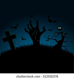 Invitation for Halloween Zombie Party Poster. Vector illustration
