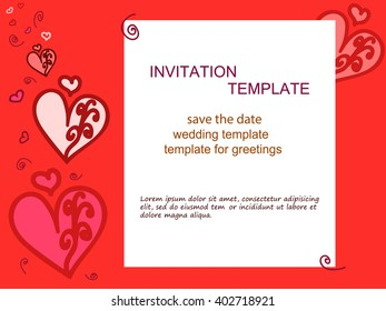 Invitation heart, red background. For wedding invitations, save the date, birthday and other holiday. Vector illustration.