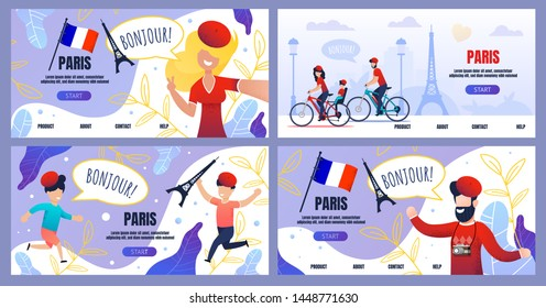 Invitation Landing Page Set with Paris Trip Offer. Welcome Flat Banner Template Kit. Vector Cartoon Happy People Tourists Taking Selfie, Riding Bikes Illustration. School Excursion to France for Kids