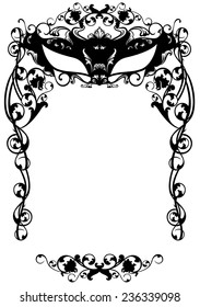 invitation to masquerade party with carnival mask - black and white flowery vector design