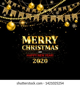 Invitation merry christmas party and happy new year 2020 poster banner and card design template. Happy holiday and new year glass ball theme concept. Vector illustration