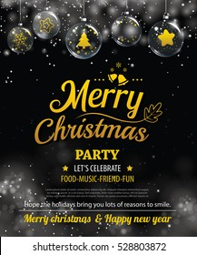 invitation merry christmas party poster banner and card design template happy holiday and new year