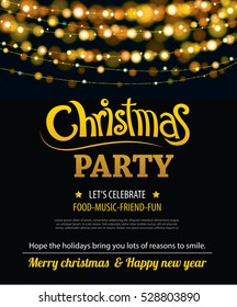 Invitation merry christmas party poster banner and card design template. Happy holiday and new year light theme concept.