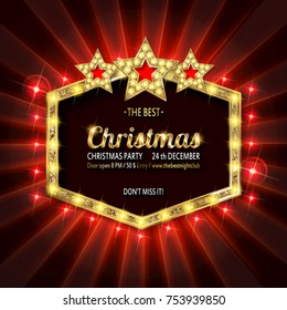 Invitation merry christmas party poster banner and card design template.Happy holiday and new year glass ball theme concept. In the retro cinematic style