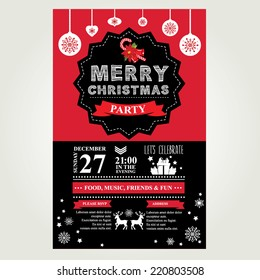 Invitation Merry Christmas. Vector illustration.