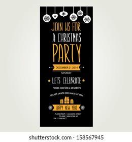 Invitation Merry Christmas.Typography.Vector illustration.